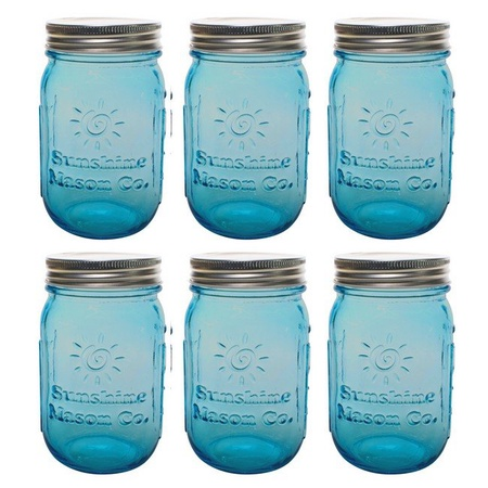 Sunshine Mason Co. Pint Regular Mouth Glass Mason Jars Vintage Blue Color with Silver Lids 6 Pack