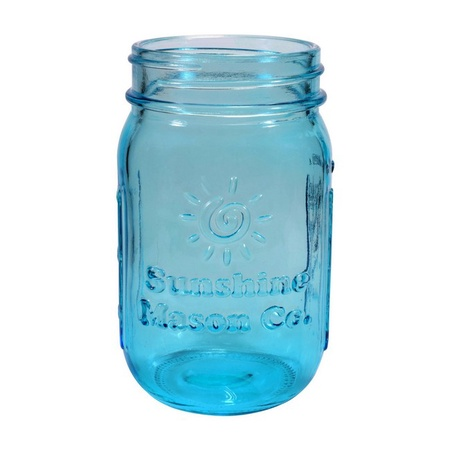Sunshine Mason Co. Pint Sized Regular Mouth Glass Mason Jars Vintage Blue Color 6 Pack