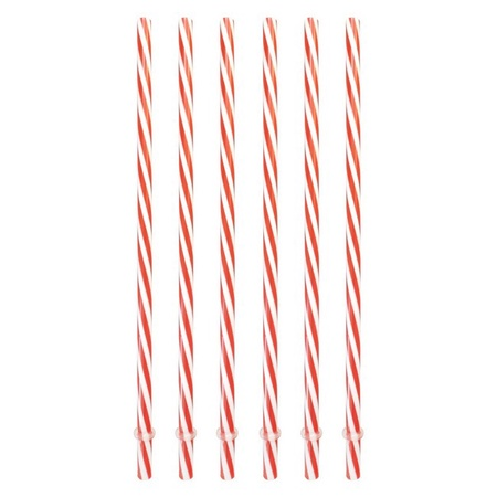 Sunshine Mason Co. Plastic Reusable Drinking Straws 6 Pieces, Red Stripe