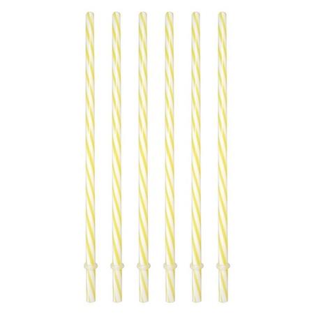 Sunshine Mason Co. Plastic Reusable Drinking Straws 6 Pieces, Yellow Stripe