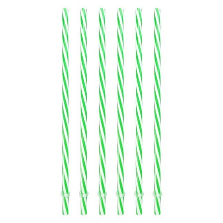 Sunshine Mason Co. Plastic Reusable Drinking Straws 6 Pieces, Green Stripe
