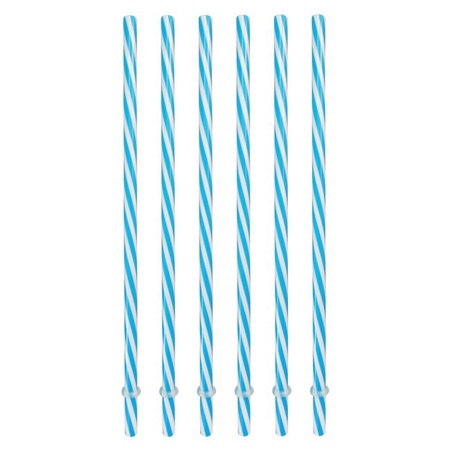 Sunshine Mason Co. Plastic Reusable Drinking Straws 6 Pieces, Blue Stripe