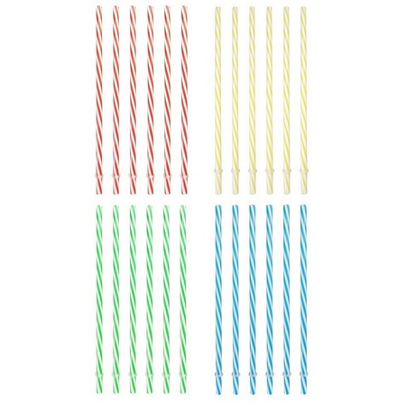 Sunshine Mason Co. Plastic, Reusable Drinking Straws 24 pieces, Multi Colors