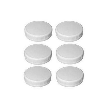 Sunshine Mason Co. Regular Mouth Mason Jars Plastic Storage Caps 6 Pieces, White