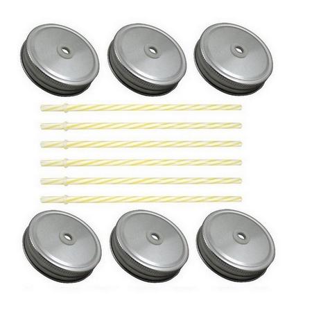 Sunshine Mason Co. Silver Mason Jar Lids with Yellow Stripe Straws, 6 Pieces