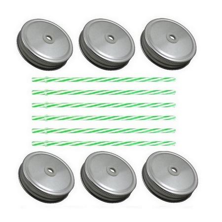 Sunshine Mason Co. Silver Mason Jar Lids with Green Stripe Straws, 6 Pieces