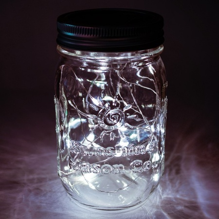 Sunshine Mason Co. Solar Mason Jar Fairy Firefly String Lights Regular Mouth Lid Cool White 20 LED's