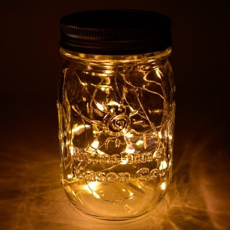 Sunshine Mason Co. Solar Mason Jar Fairy Firefly String Lights Regular Mouth Lid Warm White 20 LED's 6 Pieces