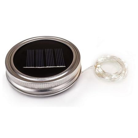 Sunshine Mason Co. Solar Mason Jar Fairy Firefly String Lights Regular Mouth Lid Cool White 20 LED's 6 Pieces