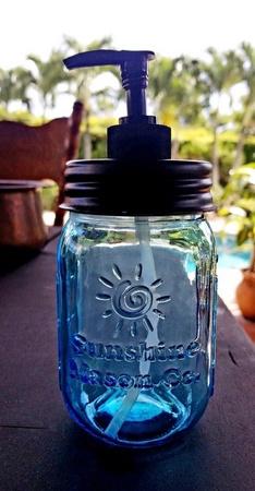 Sunshine Mason Co. Vintage Blue Mason Jar with Black Soap Dispenser Lid
