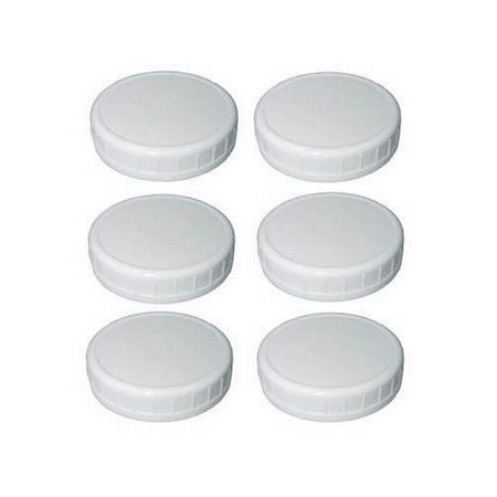 Sunshine Mason Co. Wide Mouth Mason Jar Plastic Storage Caps 6 Pieces, White