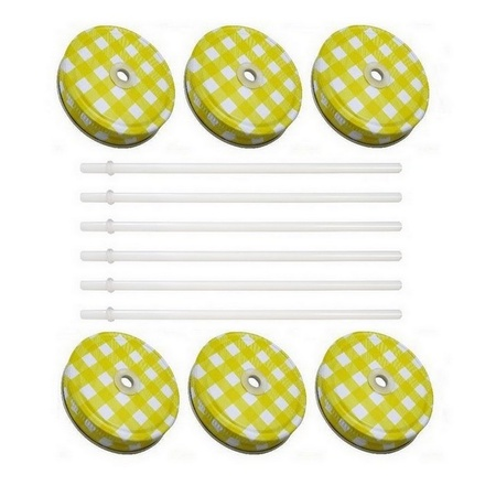 Sunshine Mason Co. Yellow Gingham Mason Jar Lids with White Straws, 6 Pieces