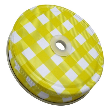 Sunshine Mason Co. Yellow Gingham Mason Jar Lids with Yellow stripe Straws, 6 Pieces