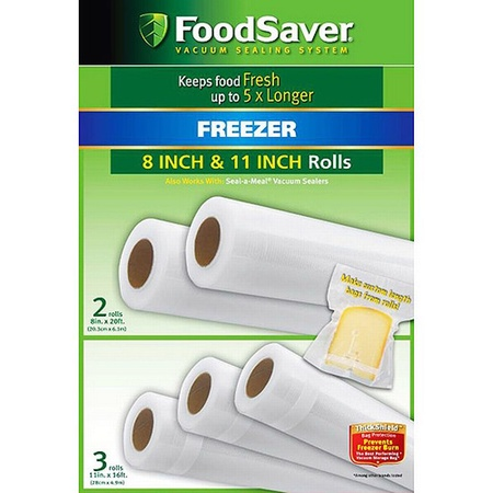 "Tilia 5-pack Foodsaver Rolls, 3 X 11"" Rolls and 2 X 8"" Rolls"