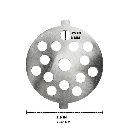 "Univen .25"" Coarse Plate Disc fits KitchenAid FGA Food Meat Grinder Chopper Attachment"