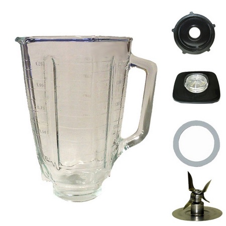 Univen 5 Cup Glass Square Top Complete Blender Jar Assembly fits Oster