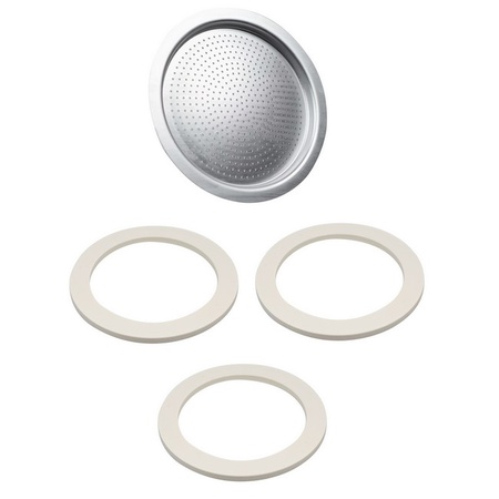Univen 64 mm Espresso Filter and Gasket Seals Compatible with Bialetti 6 Cup Aluminum Espresso Makers