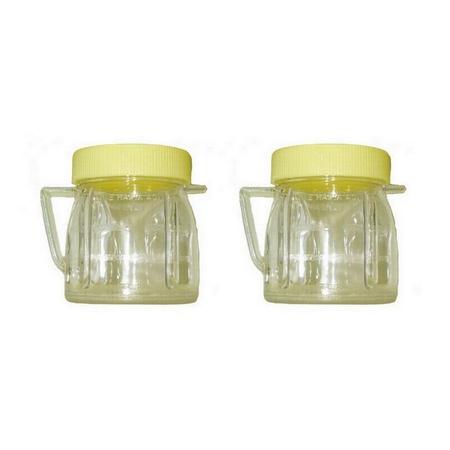 Univen 8 Oz Mini Blender Jars With Lid for Oster & Osterizer Blenders 2 Pack