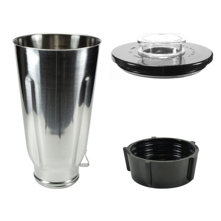 Univen Stainless Steel Blender Jar with Lid and Bottom cap fits Oster & Osterizer Blenders