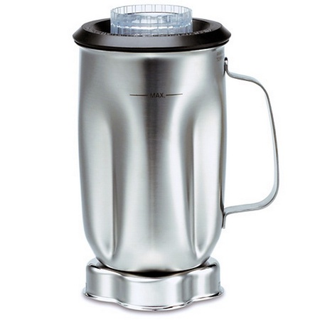 Waring CAC35 Stainless Blender Jar With Blade Assembly & Black Lid