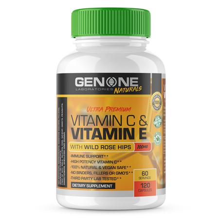 GenOne Laboratories Vitamin C & Vitamin E w/Wild Rose Hip - 120 Cap