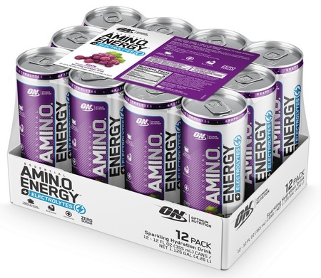 Optimum Nutrition Amino Energy Sparkling Rtd Grape - 12 Cans