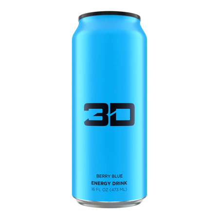 3D Energy Drink Blue  Berry Blue - 12 x 16 oz Cans