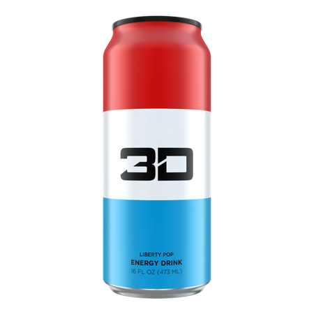 3D Energy Drink Red, White & Blue  Liberty Pop - 12 x 16 oz Cans
