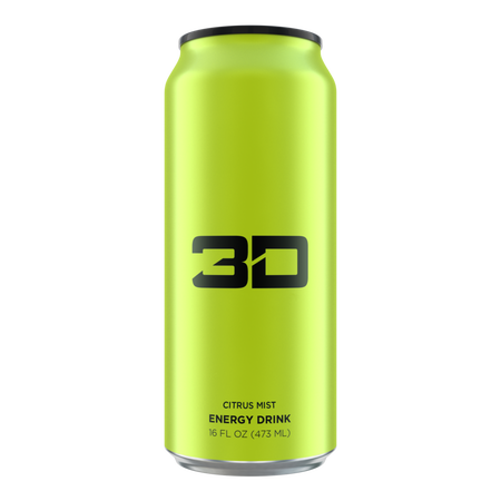 3D Energy Drink Green  Citrus Mist - 12 x 16 oz Cans