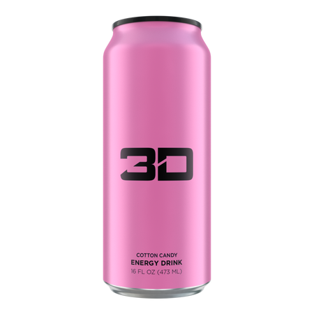 3D Energy Drink Pink  Cotton Candy - 12 x 16 oz Cans