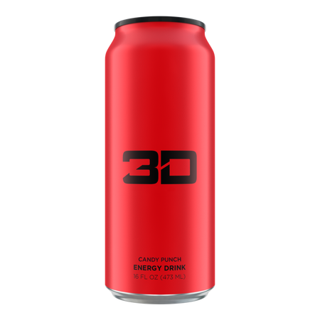 3D Energy Drink Red  Candy Punch - 12 x 16 oz Cans