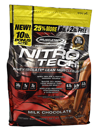 Muscletech Nitrotech Performance Series Chocolate - 10 Lb  (Approx 100 servings)