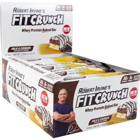 Chef Robert Irvine's Fit Crunch Bars Milk & Cookies - 12 Bars