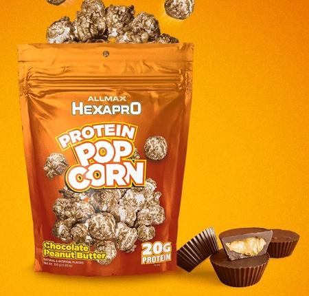 AllMax Hexapro Protein Popcorn Chocolate Peanut Butter - 6 x 3.8 oz Bags