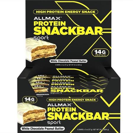 AllMax Protein Snack Bar - White Chocolate P.B. - 12 Bars
