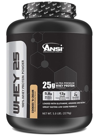 ANSI Whey 25 Whey Protein Cookies & Cream - 5 Lb  ($34.99 w/coupon code DPS10)