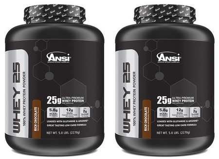 ANSI Whey 25 Whey Protein Chocolate - 10 Lb (2 x 5 Lb Cans)