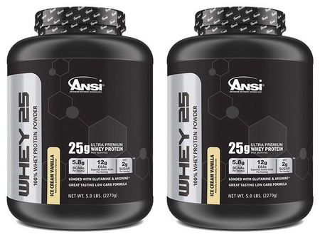 ANSI Whey 25 Whey Protein Vanilla - 10 Lb (2 x 5 Lb Cans)