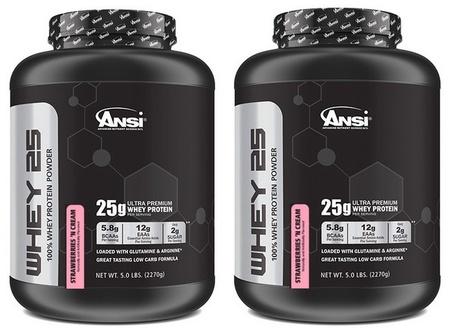 ANSI Whey 25 Whey Protein Strawberries & Cream - 10 Lb  (2 X 5 Lb)