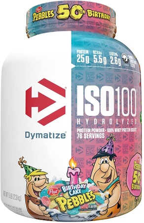 Dymatize ISO 100 Whey Protein Isolate Birthday Cake Pebbles - 5 Lb  SALE $63.99 w/coupon code DPS10