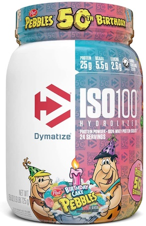 Dymatize ISO 100 Whey Protein Isolate Birthday Cake Pebbles - 1.6 Lbs. (23 Servings)