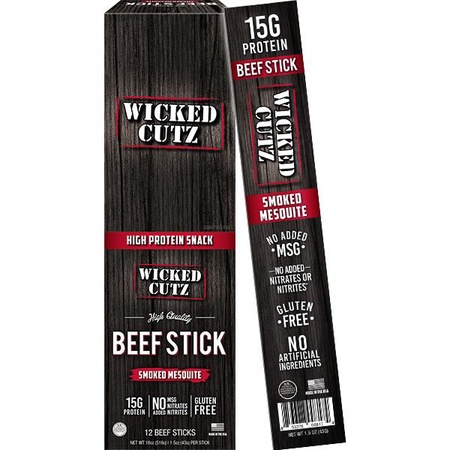 Wicked Cutz Beef Sticks  Smoked Mesquite  - 12 Sticks  ($19.19 w/coupon code DPS10)