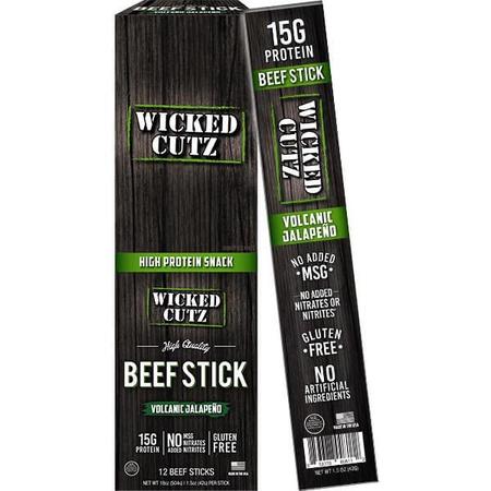 Wicked Cutz Beef Sticks  Volcanic Jalapeno - 12 Sticks  ($19.19 w/coupon code DPS10)