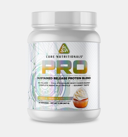 Core Nutritionals PRO Sustained Release Protein Blend Frosted Vanilla Cupcake - 2 Lb
