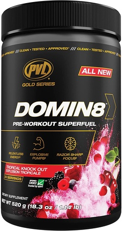 PVL Domin8 Pre-Workout  Tropical Knock Out  - 20 Servings