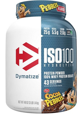 -Dymatize ISO 100 Whey Protein Isolate  Cocoa Pebbles - 3 Lb (43 Servings)