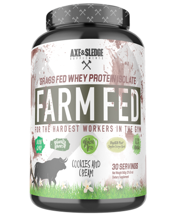 Axe & Sledge Farm Fed Protein -Grass-fed Whey Protein Isolate  Cookies and Cream - 30 Servings