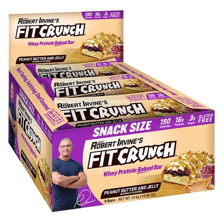 Chef Robert Irvine's Fit Crunch Snack Size Bars Peanut Butter and Jelly - 9 Bars (46g Size)