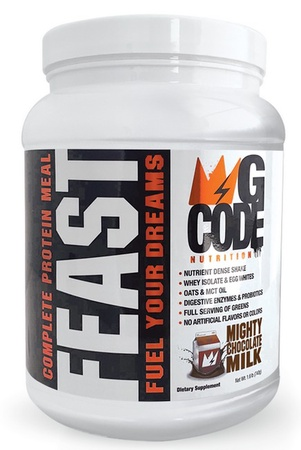 GCode Nutrition FEAST Complete Protein Meal - Mighty Chocolate Milk - 20 Servings
