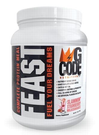 G Code Nutrition FEAST Complete Protein Meal - Slammin' Strawberry Milkshake - 20 Servings